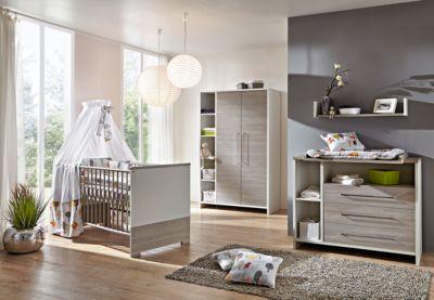 Komplett Kinderzimmer ECO SILBER, 3-tlg. (Kinderbett, Wickelkommode und 2-türiger Kleiderschrank mit Seitenregal), Pinie silberfarbig/weiß grau Gr. 70 x 140