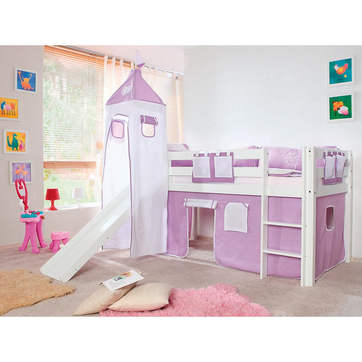 vorhangset f r spielbett kim alex mit turm lila wei herz lila relita yomonda. Black Bedroom Furniture Sets. Home Design Ideas