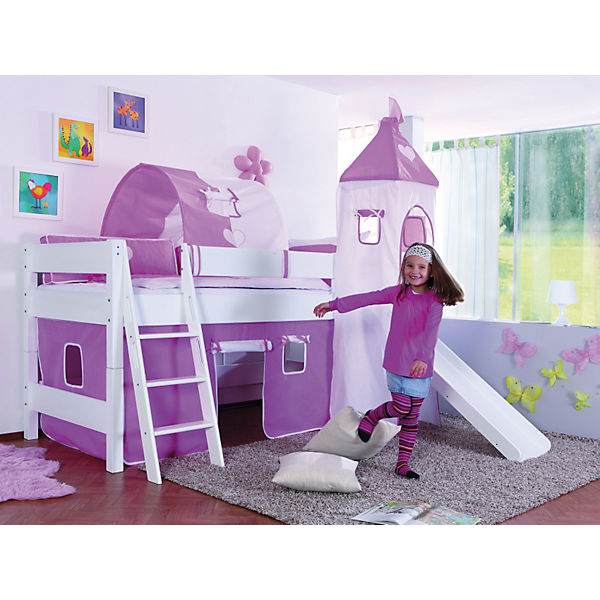 spielbett kim mit rutsche turm buche massiv wei 90 x 200 cm wei relita yomonda. Black Bedroom Furniture Sets. Home Design Ideas