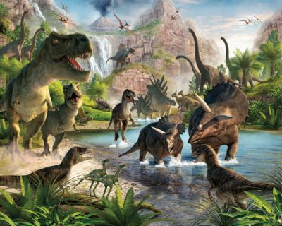 Tapete Dinosaurier, 12 tlg. mehrfarbig