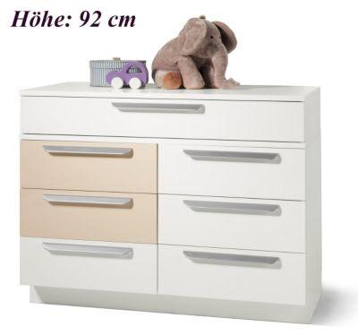 Kommode MILLA mit 7 Schubkästen, Weiß/Macchiato Hochglanz, Wickelhöhe 92 cm beige
