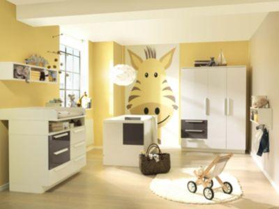 Wellemöbel Komplett Kinderzimmer MILLA groß, 4-tlg. (Kinderbett, Kommode, Wickelaufsatz und 3-türiger Kleiderschrank), Weiß/Lava Hochglanz grau Gr. 70 x 140