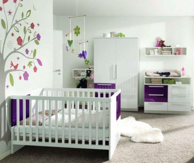 Komplett Kinderzimmer MILLA, 4-tlg. (Kinderbett, Kommode, Wickelaufsatz und 2-türiger Kleiderschrank), Weiß/Lila Hochglanz lila Gr. 70 x 140