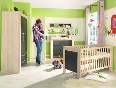 Komplett Kinderzimmer LASSE, 4-tlg. (Kinderbett, Kommode, Wickelaufsatz und 2-türiger Kleiderschrank), Esche/Lava schwarz Gr. 70 x 140