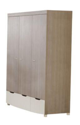 Kleiderschrank, 3-türig, THERESA, Stein-Pinie/Weiß holzfarben