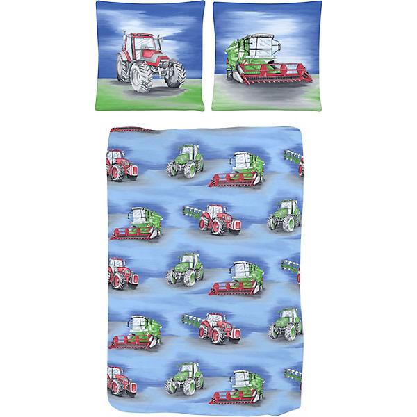 Kinderbettwäsche Traktor Renforcé Blau 135 X 200 Cm Blau Yomonda