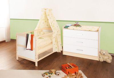Kinderbett & Wickelkommode Sparset FLORIAN groß, 2-tlg., Ahorn/Cremeweiß Gr. 70 x 140
