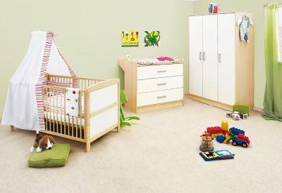 Komplett Kinderzimmer FLORIAN groß, 3-tlg. (Kinderbett, Wickelkommode breit und 3-türiger Kleiderschrank), Ahorn/Cremewe