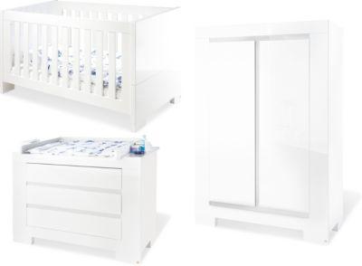 Pinolino Komplett Kinderzimmer SKY groß, (Kinderbett, Wickelkommode breit und 2-türiger Kleiderschrank), Weiß/Hochglanz weiß Gr. 70 x 140