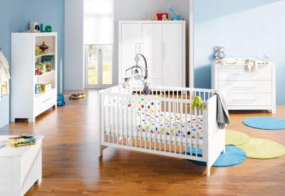 Pinolino Komplett Kinderzimmer PURO groß, 3-tlg. (Kinderbett, Wickelkommode breit und 3-türiger Kleiderschrank), Fichte massiv/weiß lasiert Gr. 70 x 140