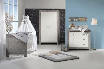 Schardt Komplett Kinderzimmer NORDIC DRIFTWOOD, 3-tlg. (Kinderbett + US, Wickelkommode und 2-türiger Kleiderschrank), Drift Wood/weiß grau Gr. 70 x 140