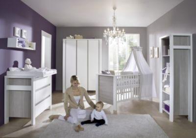 Schardt Komplett Kinderzimmer MILANO PINIE, 3-tlg. (Kinderbett + US, Wickelkommode und 3-türiger Kleiderschrank), Pinie silberfarbig/weiß Gr. 70 x 140