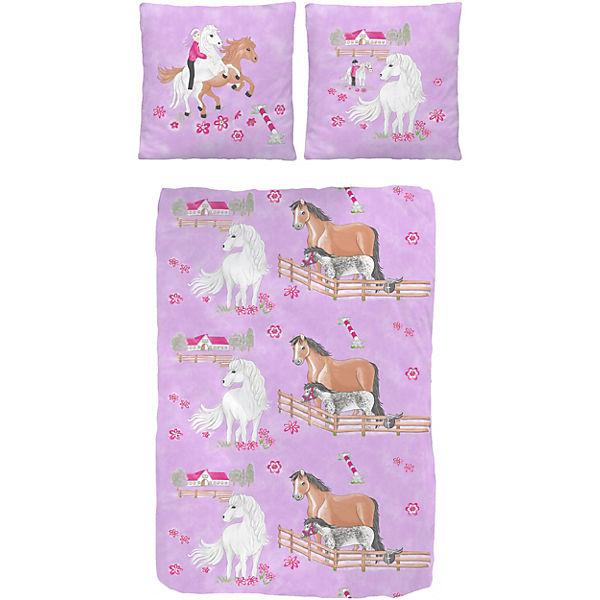 pferdebettw sche kinderbettw sche pferde biber 135 x 200 cm lila yomonda. Black Bedroom Furniture Sets. Home Design Ideas