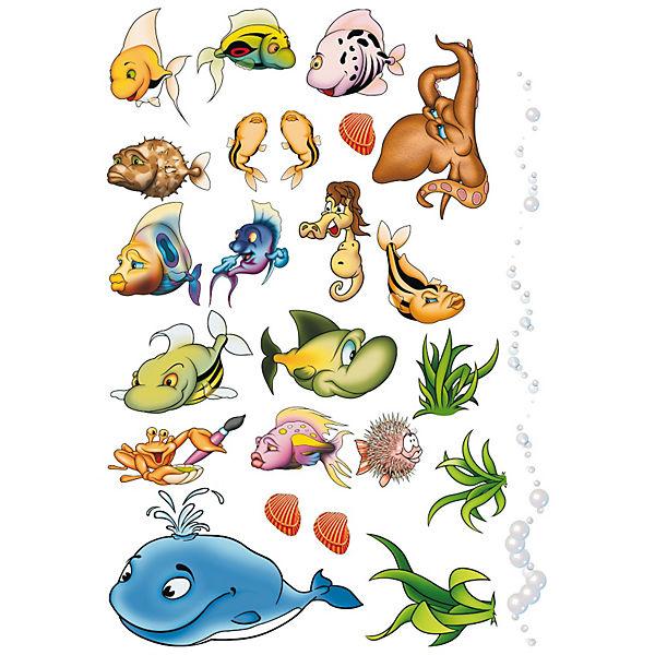 Wandtattoo xl unterwasserwelt 40 tlg mehrfarbig yomonda - Wandtattoo unterwasserwelt ...