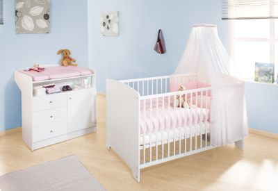 Kinderbett & Wickelkommode Sparset JIL, Kiefer/Weiß lackiert weiß Gr. 70 x 140