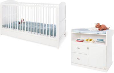 Sparset LAURA (Kinderbett & Wickelkommode), Weiß weiß Gr. 70 x 140