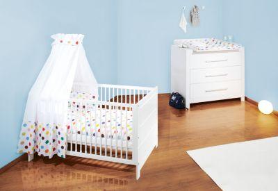 Kinderbett & breite Wickelkommode Sparset PURO, Fichte vollmassiv, weiß lasiert Gr. 70 x 140