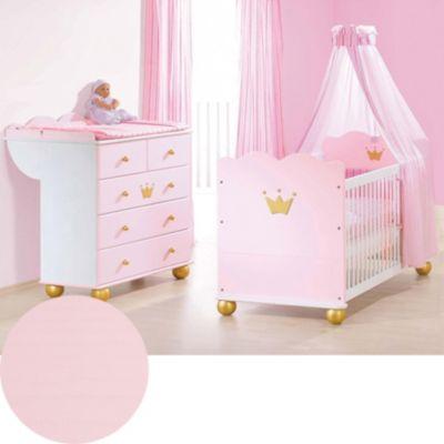 Sparset KAROLIN (Kinderbett & Wickelkommode), Fichte massiv/Weiß-Rosa lasiert rosa Gr. 70 x 140