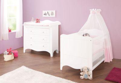Sparset FLEUR, 2-tlg. (Kinderbett und breite Wickelkommode), weiß edelmatt Gr. 70 x 140