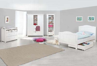 Pinolino Komplett Jugendzimmer NINA groß, 3-tlg. (Jugendbett, breite Kommode und großer 2-türiger Kleiderschrank mit Mittelregal), massiv/Weiß lasiert weiß Gr. 90 x 200