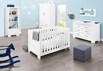 Pinolino Komplett Kinderzimmer ICE groß, (Kinderbett, Wickelkommode breit und 2-türiger Kleiderschrank), weiß edelmatt Gr. 70 x 140
