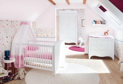 Pinolino Komplett Kinderzimmer FLEUR groß, 3-tlg. (Kinderbett, Wickelkommode breit und 2-türiger Kleiderschrank), weiß edelmatt Gr. 70 x 140