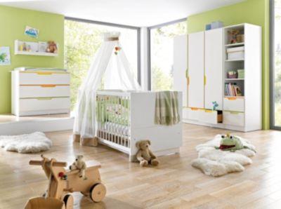 Geuther Komplett Kinderzimmer FRESH, 3-tlg. (Kinderbett, breite Wickelkommode und 3-türiger Kleiderschrank), Weiß/Bunt weiß Gr. 70 x 140