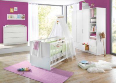 Geuther Komplett Kinderzimmer FRESH, 3-tlg. (Kinderbett, breite Wickelkommode und 3-türiger Kleiderschrank), Weiß weiß Gr. 70 x 140