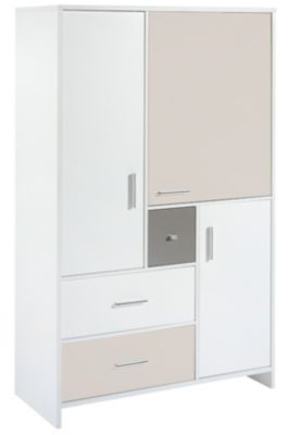 Schardt Kleiderschrank CANDY, weiß/beige/grau, 3-türig