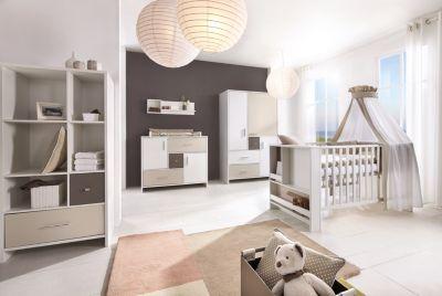 Schardt Komplett Kinderzimmer CANDY, 3-tlg. (Kinderbett, Umbauset, Wickelkommode und 3-türiger Kleiderschrank), weiß/beige/grau Gr. 70 x 140