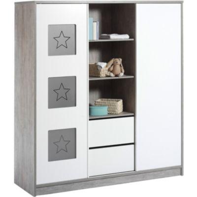 Kleiderschrank ECO STAR, Driftwood/weiß, 2-türig mit Mittelregal grau