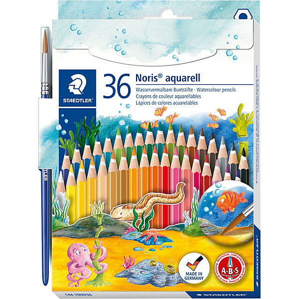 NORIS Club AquarellBuntstifte, 36 Farben, inkl. Pinsel