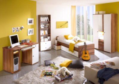 Jugendzimmer Vicky, 4-tlg. (Kleiderschrank, Standregal, Schreibtisch, Bett), Walnuss weiß Gr. 90 x 200