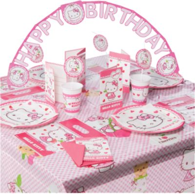 Partyset Hello Kitty Hearts 56-tlg. rosa/weiß