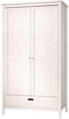 Kleiderschrank LUMIO, 2-türig, Kiefer massiv, weiß gewachst