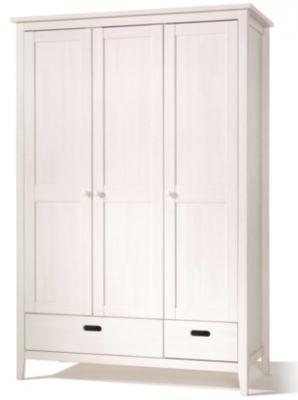 Kleiderschrank LUMIO, 3-türig, Kiefer massiv, weiß gewachst