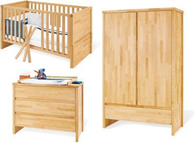 Pinolino Komplett Kinderzimmer FAGUS, (Kinderbett, Wickelkommode breit und 2-türiger Kleiderschrank), FSC®-zertifizierte Buche vollmassiv, geölt holzfarben Gr. 70 x 140