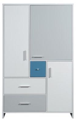 Schardt Kleiderschrank CANDY BLUE, weiß/blau/grau, 3-türig