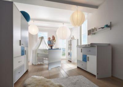 Komplett Kinderzimmer CANDY BLUE, 3-tlg. (Kinderbett, Umbauseiten, Wickelkommode und 3-türiger Kleiderschrank), weiß/blau/grau Gr. 70 x 140