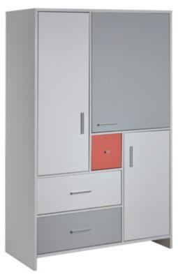 Kleiderschrank CANDY RED, weiß/rot/grau, 3-türig