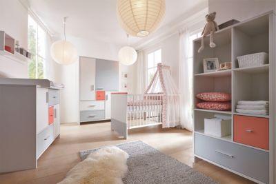 Schardt Komplett Kinderzimmer CANDY RED, 3-tlg. (Kinderbett, Umbauseiten, Wickelkommode und 3-türiger Kleiderschrank), weiß/rot/grau Gr. 70 x 140
