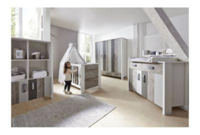 Schardt Komplett Kinderzimmer WOODY GREY, 3-tlg. (Kinderbett, Umbauseiten, Wickelkommode und 3-türiger Kleiderschrank) grau Gr. 70 x 140