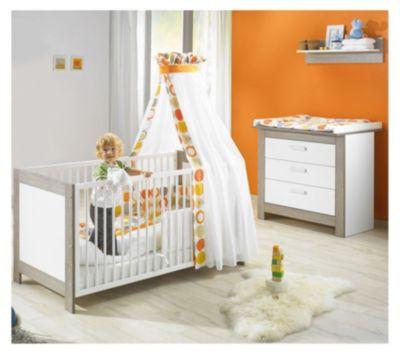 Sparset MARLENE (Kinderbett & Wickelkommode), Wenge Lehm/Weiß weiß Gr. 70 x 140