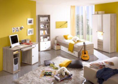 TICAA Komplett Jugendzimmer Vicky, 4-tlg. (Einzelbett, Kleiderschrank, Schreibtisch, Standregal), Sonoma-Weiß weiß Gr. 90 x 200