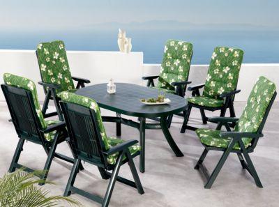 13-tlg. Garten Sitzgruppe ´´Elisa Flower´´ grün