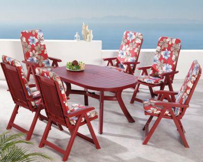 Best Freizeitmöbel 13-tlg. Garten Sitzgruppe Elisa Flora rot