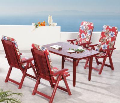 Best Freizeitmöbel 9-tlg. Garten Sitzgruppe Elisa Flora rot