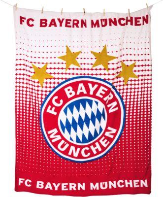 Kuscheldecke FC Bayern München Logo, 150 x 200 cm rot