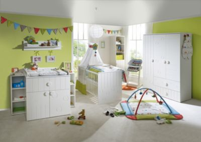 Kinderbett & Wickelkommode (schmal 2-türig) Sparset CAMBINO PLAY, Weiß weiß Gr. 70 x 140