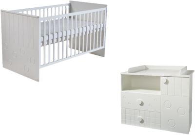 Sparset CAMBINO PLAY, Kinderbett & Wickelkommode (breit) , Weiß weiß Gr. 70 x 140